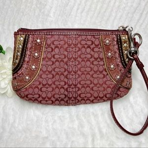 Coach Wine Wristlet Signature Canvas Studs Leather
